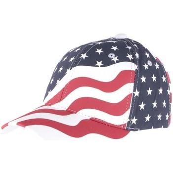 Accessoires textile Casquettes Hip Hop Honour Casquette Baseball USA drapeau Rouge et Bleu Bleu
