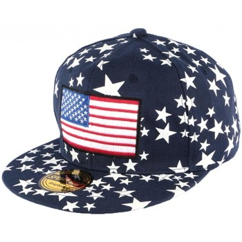 Accessoires textile Casquettes Hip Hop Honour Casquette Snapback Bleue drapeau USA et Etoiles Bleu