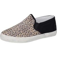Chaussures Fille Slip ons Date D.A.T.E. slip on noir textile marron AD837 noir