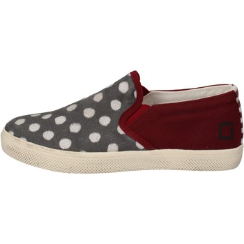 Chaussures Fille Slip ons Date D.A.T.E. slip on bordeaux textile gris AD841 rouge