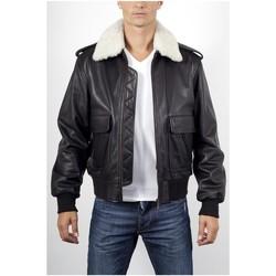 Vêtements Vestes en cuir / synthétiques Giorgio Pilote Noir col Blanc Noir