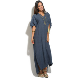 Vêtements Femme Robes 100 % Lin Robe CAMILLE Femme Collection Printemps Eté Bleu