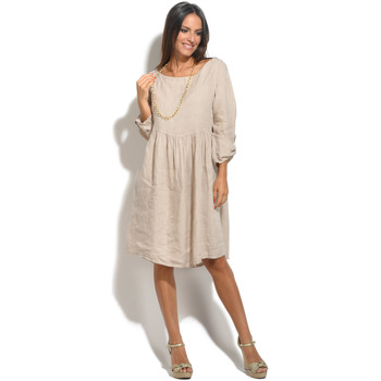 Vêtements Femme Robes 100 % Lin Robe LILON Femme Collection Printemps Eté Beige