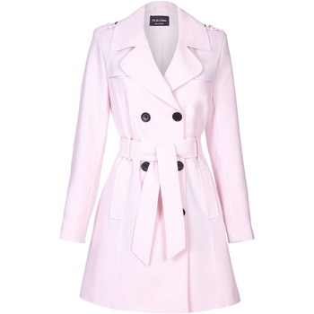 Vêtements Femme Manteaux De La Creme Cravate de printemps ceinturé trench Pink