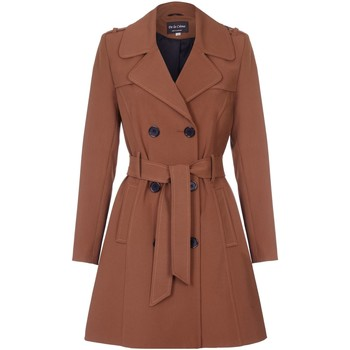 Vêtements Femme Manteaux De La Creme Cravate de printemps ceinturé trench Brown