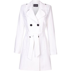 Vêtements Femme Manteaux De La Creme Cravate de printemps ceinturé trench White