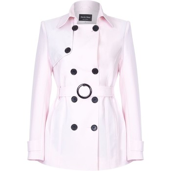 Vêtements Femme Manteaux De La Creme Cravate de printemps ceinturé trench court Pink