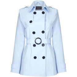 Vêtements Femme Manteaux De La Creme Cravate de printemps ceinturé trench court Blue