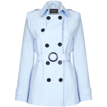 82a091dc7856d Vêtements Femme Manteaux De La Creme Cravate de printemps ceinturé trench  court Blue
