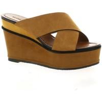Chaussures Femme Sandales et Nu-pieds Elvio Zanon Nu pieds cuir velours Cognac