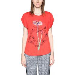 Vêtements Femme T-shirts manches courtes Desigual T Shirt Andrew Rouge 18SWTKDN 8