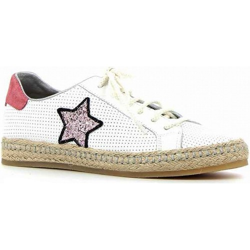 Coco & Abricot coco&abricot sneakers blanc-rose blanc - Chaussures Espadrilles Femme