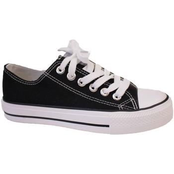Chaussures Baskets basses Primtex Basket tennis  en toile semelle caoutchouc blanc Noir