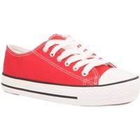 Chaussures Baskets basses Primtex Basket tennis  en toile semelle caoutchouc blanc Rouge