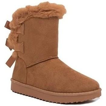 Chaussures Femme Bottes de neige Primtex Bottes fourrées  avec ruban satiné et fourrure synthétique Camel