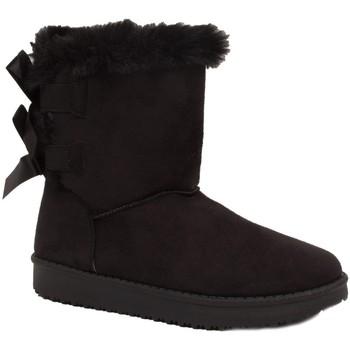 Chaussures Femme Bottes de neige Primtex Bottes fourrées  avec ruban satiné et fourrure synthétique Noir