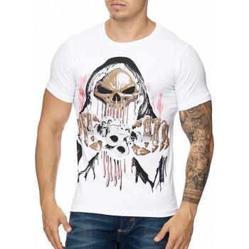 Vêtements Homme T-shirts manches courtes Cabin T-shirt tête de mort et strass T-shirt 3236 blanc Blanc