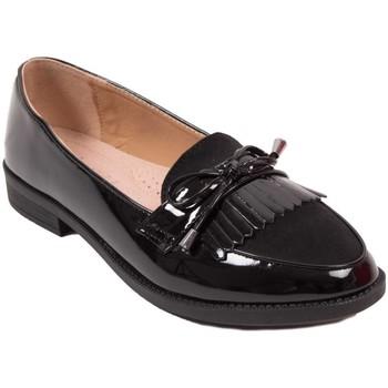 Chaussures Femme Mocassins Primtex Mocassins  vernis noir à franges bouts pointus semelle intérieur Noir