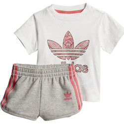 Vêtements Fille Ensembles de survêtement adidas Originals Ensemble Shorts and Tee Blanc / Multicolore