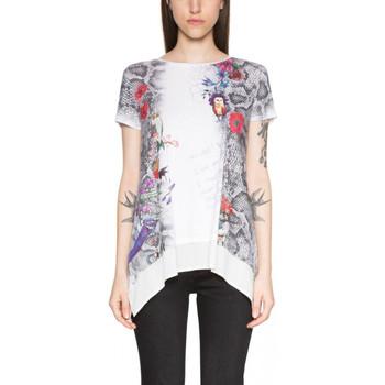 Vêtements Femme Tuniques Desigual T Shirt Daphne Algodon Blanx 18SWTKFJ 1