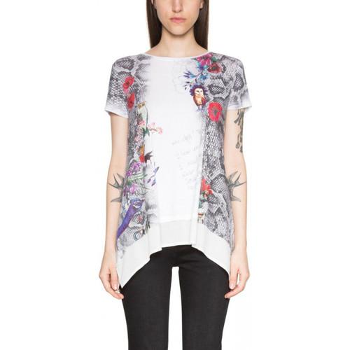 Vêtements Femme Tuniques Desigual T Shirt Daphne Algodon Blanx 18SWTKFJ
