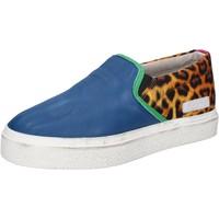 Chaussures Femme Slip ons Date D.A.T.E. slip on bleu cuir textile AB540 bleu