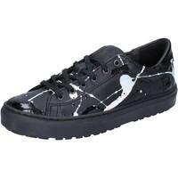 Chaussures Femme Baskets basses Date sneakers noir cuir cuir verni AB561 noir
