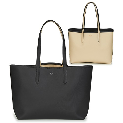 Sacs Femme Cabas / Sacs shopping Lacoste ANNA Noir / Beige