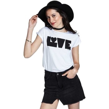 Vêtements Femme T-shirts manches courtes Bicyclette A  Camiseta Mujer Love Blanca Blanc