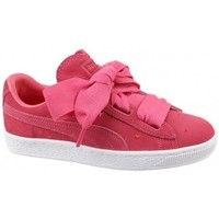 Chaussures Fille Baskets basses Puma Suede Heart Jr rouge