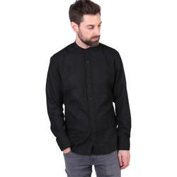 Vêtements Homme Chemises manches longues Kronstadt DEAN FLANNEL MANDARIN Noir