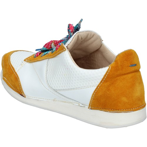 sneakers blanc cuir jaune daim AB619  Moma  baskets mode  femme  multicolor