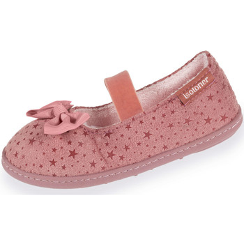 Chaussures Fille Ballerines / babies Isotoner Chaussons ballerines fille étoiles et rayures rose