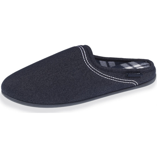 Isotoner Chaussons mules homme effet denim bleu - Chaussures Chaussons Homme