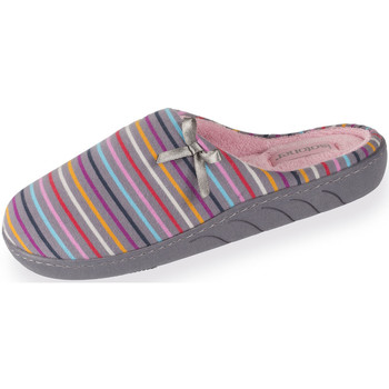Chaussures Fille Chaussons Isotoner Chaussons mules fille rayures multicolores multicolor