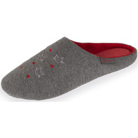 Chaussures Femme Chaussons Isotoner Chaussons mules femme borderies chat gris