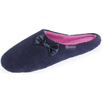 Chaussures Femme Chaussons Isotoner Chaussons mules femme nœud satin marine