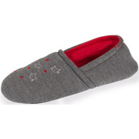 Chaussures Femme Chaussons Isotoner Chaussons slippers femme broderies chat gris