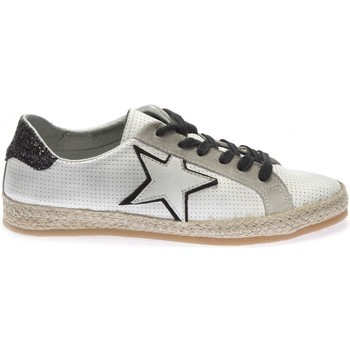 Chaussures Femme Baskets basses Reqin's BASKET SUNDAY MIX CUIR PERFO BLANC/NOIR