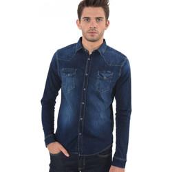 Vêtements Homme Chemises manches longues Kaporal Chemise en Jeans Homme Salto Bleu Bleu
