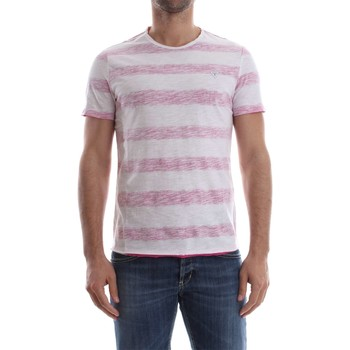 Vêtements Homme T-shirts manches courtes Guess M82I06 K6XP0 JEREMY STRIPED T-SHIRT Homme WHITE RED WHITE RED