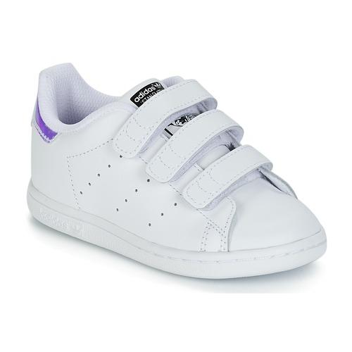 Chaussures Fille Baskets basses adidas Originals STAN SMITH CF I Blanc / argente