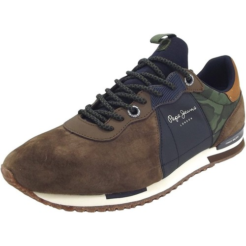 Pepe jeans Baskets Tinker Racer Mix marrons Marron - Chaussures Baskets basses Homme