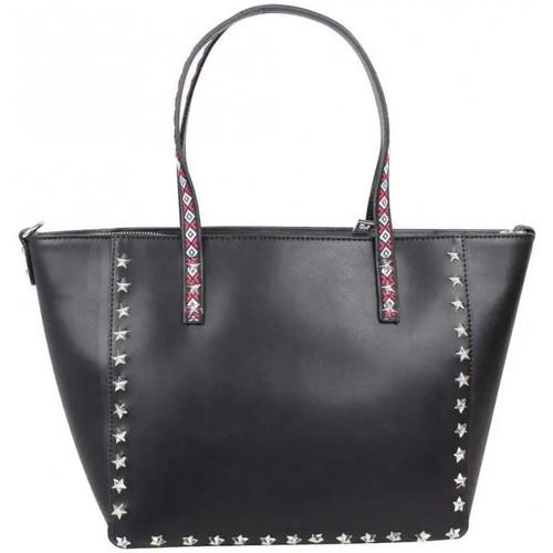 Sacs Femme Cabas / Sacs shopping Fuchsia Sac trapèze motif ethnique étoiles  F9665-2 Paola Noir