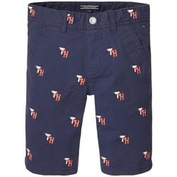 Vêtements Garçon Shorts / Bermudas Tommy Hilfiger TH EMBROIDERED CHINO SHORT Bleu