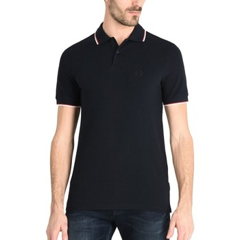 Vêtements Homme Polos manches courtes Armani Exchange POLO PIPING COL BLEU MARINE