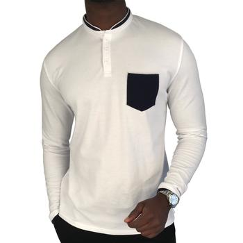 Vêtements Homme Polos manches longues Sebastiano Polo homme col Mao manches longues 100% Coton Blanc