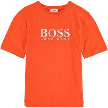 Vêtements Garçon T-shirts manches courtes HUGO Tee-shirt Hugo Boss Cadet - Ref. J25B87-412 Orange