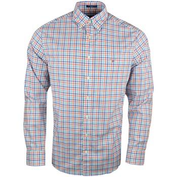 Vêtements Homme Chemises manches longues Gant Chemise  à carreaux bleu et orange pour homme Rouge