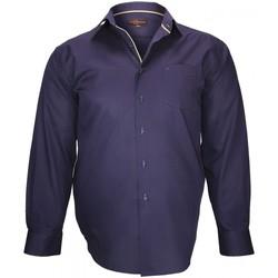 Vêtements Homme Chemises manches longues Doublissimo chemise tissu armuree lugano bleu Bleu